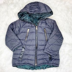 Zara Girls Reversible Navy Green Puffer Coat Sz 5